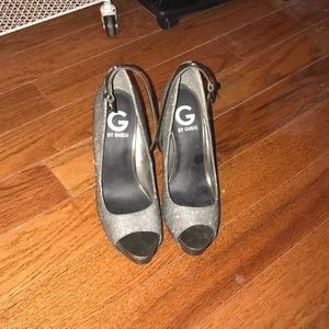 sparkly gray Guess heels